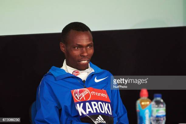 Bedan Karoki of Kenya during a press conference after winning the men's elite race at the London marathon on April 23 2017 in London