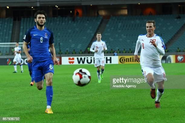 Bedavi Huseynov of Azerbaijan in action against Vladimir Darida of Czech Republic during the 2018 FIFA World Cup European Qualification match between...
