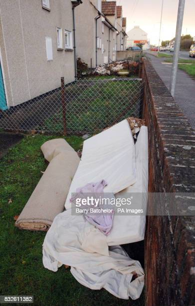 Bedding in the front garden of the house in Wellington Road Taunton where tenmonth old Rihanna Hardie suffered 85% burns when hot water pipes burst...
