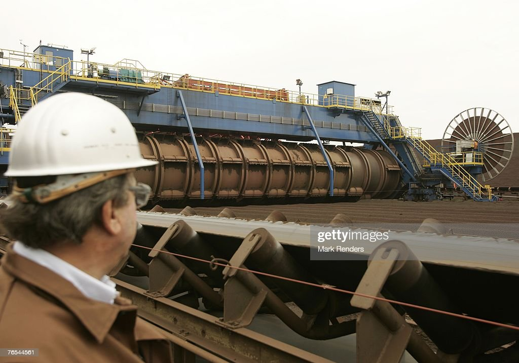 A bedding of raw material to produce steel is piled up at ArcelorMittal Gent on September 05 2007 in Ghent Belgium Following approval by the...