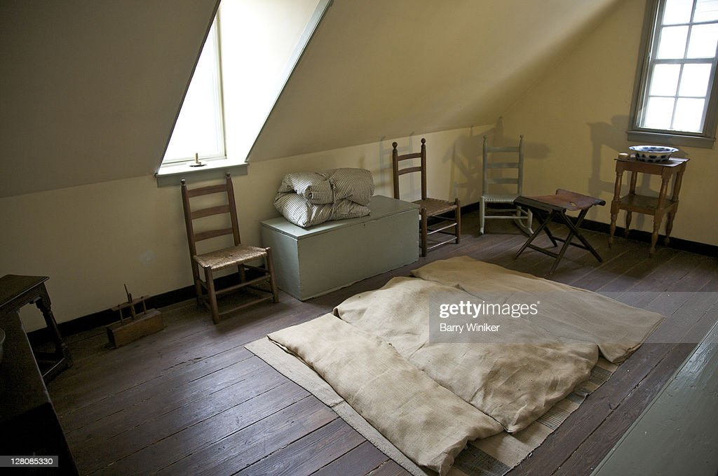 Bedding on floor in upstairs bedroom at Rising Sun Tavern, residence built 1760 by Charles Washington, youngest brother of George Washington, Fredericksburg, Virginia, U.S.A. : Stock Photo