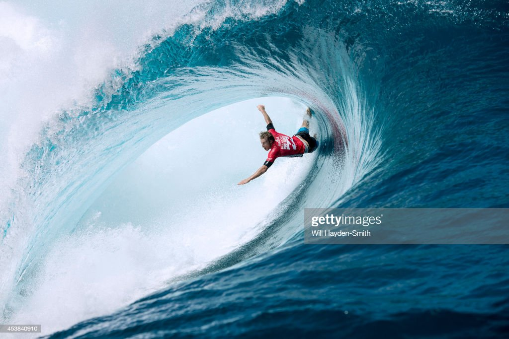Bede Durbidge during the Billabong Pro on August 19, 2014 in Teahupo'o, French Polynesia.