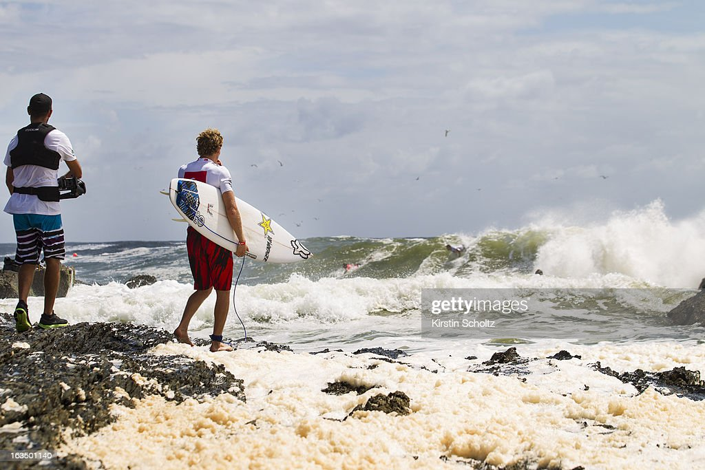 Bede Durbidge of Australia makes his way out for his round three heat during the Quiksilver Pro on March 11, 2013 in Gold Coast, Australia.