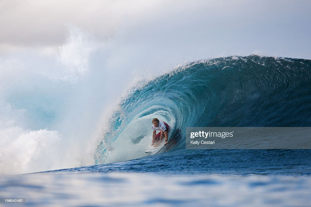 Bede Durbidge of Australia placed equal 13th in the Billabong Pipe Masters in Memory of Andy Irons at Pipeline on December 9, 2012 in North Shore, Hawaii.