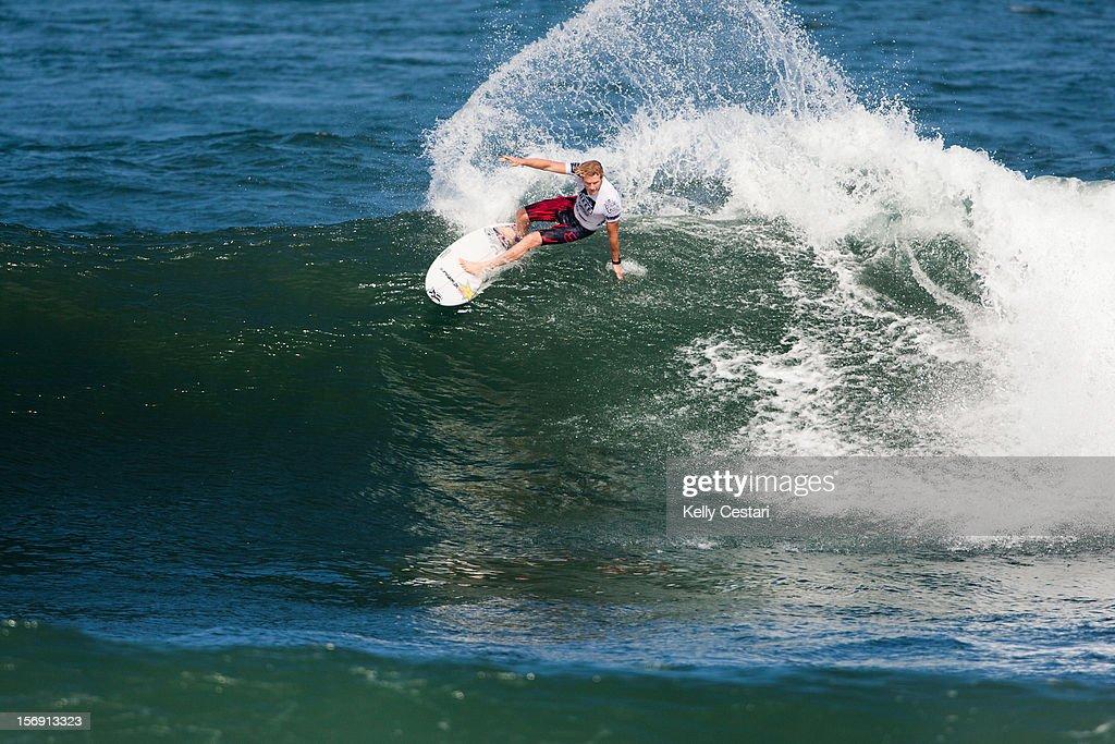 Bede Durbidge of Australia placed equal 5th in the REEF Hawaiian Pro at Ali'i Beach Park on November 24, 2012 in Haleiwa, Hawaii.
