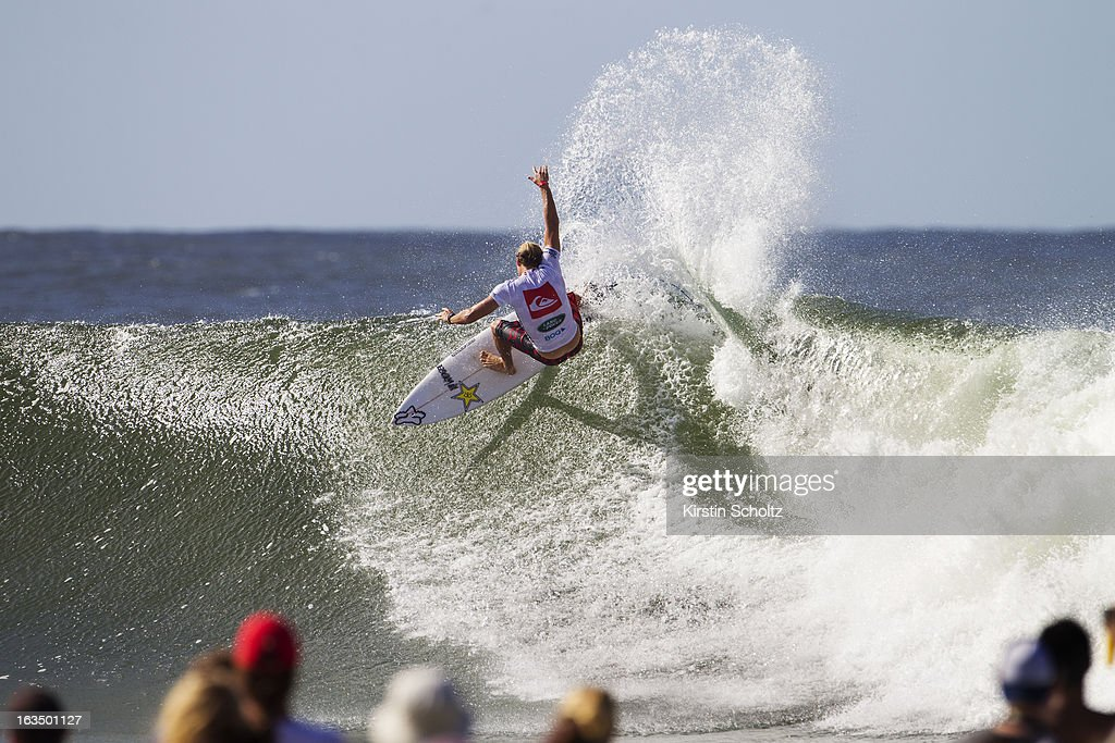 Bede Durbidge of Australia surfs during round four of the Quiksilver Pro on March 11, 2013 in Gold Coast, Australia.