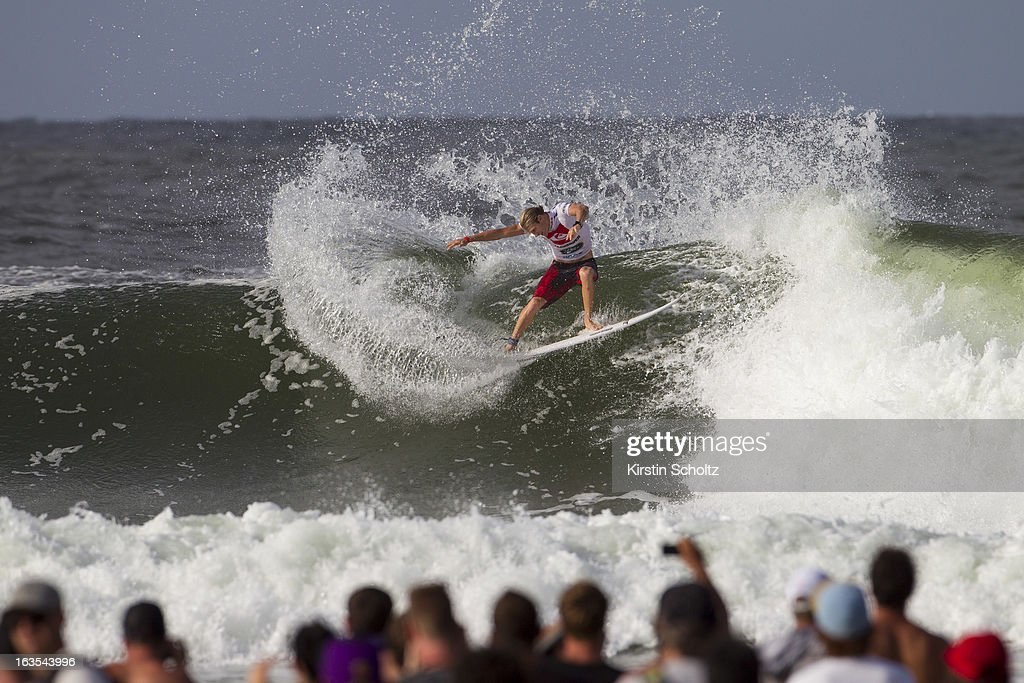 Bede Durbidge of Australia surfs to an equal fifth place finish during the Quiksilver Pro, on March 12, 2013 in Gold Coast, Australia.