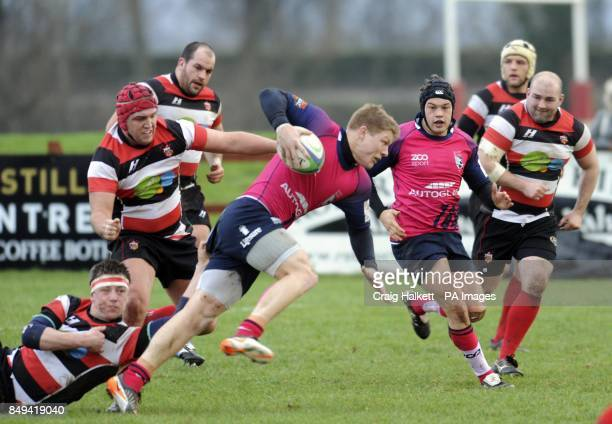Bedford's Tom Arnes gets tackled by Stirling County's Ruairdh Leishman and Mike McDonald during the British and Irish Cup Pool Two match at...