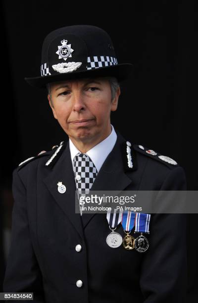 Bedfordshire Chief Constable Gillian Parker attends a memorial service to unveil a memorial to PC John Henry who was stabbed to death in Luton town...
