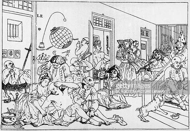 Bedlam mental institution engraving from the series A rake's progress by William Hogarth