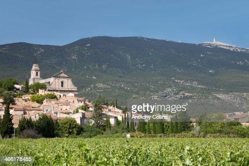 Bedoin between vineyards and mountains : Stock Photo