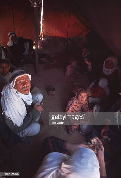 Bedouin and Palestinian refugees recently evacuated from the West Bank in an army tent on the Jordanian/Iraqui border | Location Mafraq Jordan Iraq