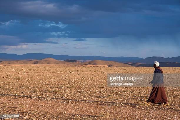 Bedouin walking on a rocky desert