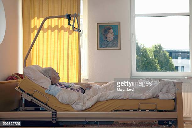 bedridden elderly lady in latter stage of life