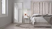 DIY bedroom, bed with wooden headboard, scandinavian white eco chic design