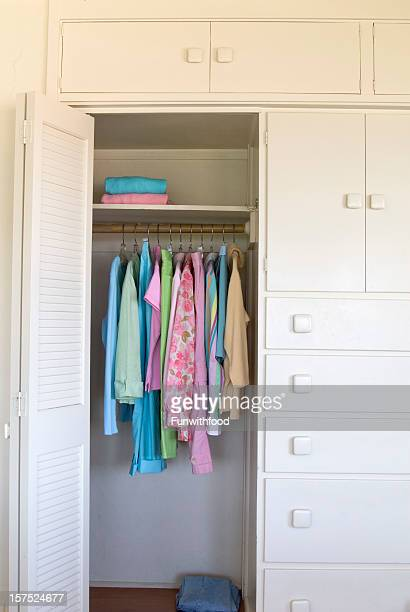 Bedroom Closet, Home Interior, Organized Women's Spring Clothing