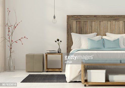 Bedroom in a minimalist style : Stock Photo
