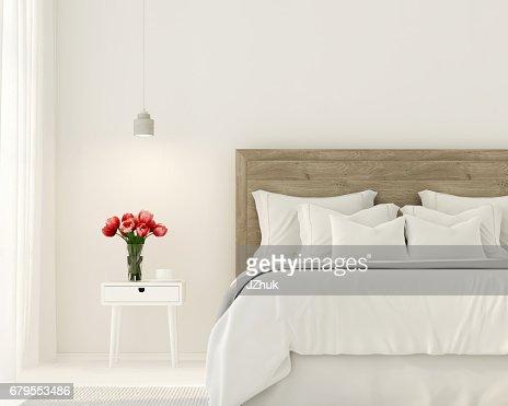 Bedroom in white color : Stock Photo