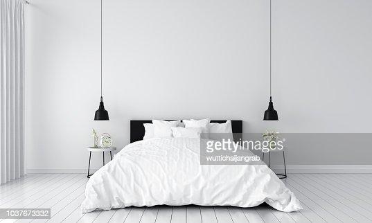 bedroom interior for mockup, 3D rendering : Stock Photo