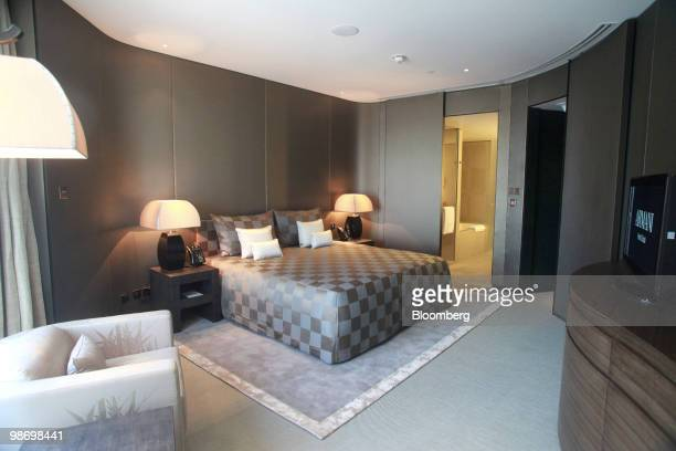 A bedroom is seen in the Armani hotel in the Burj Khalifa in Dubai United Arab Emirates on Tuesday April 27 2010 Emaar Properties PJSC which today...