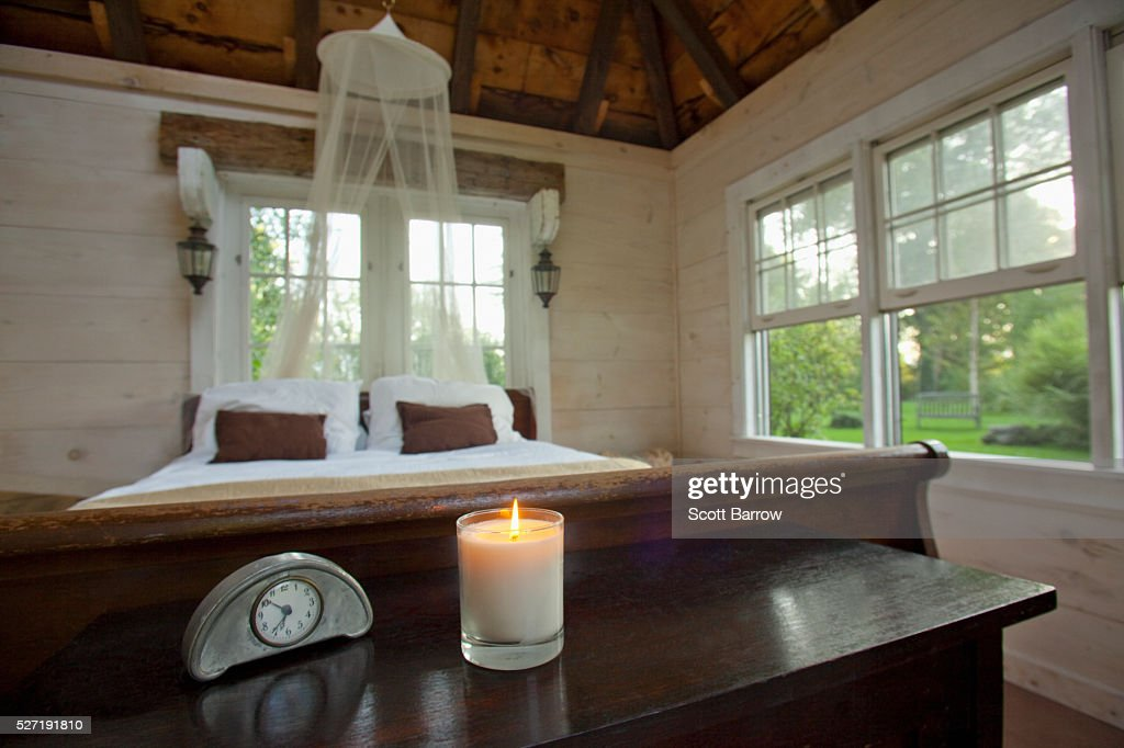 Bedroom of summer cottage : Stock Photo