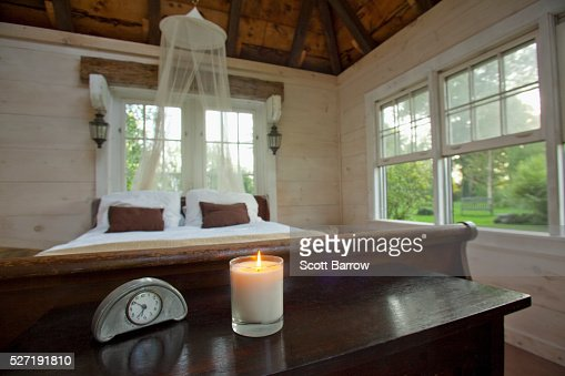 Bedroom of summer cottage : Stockfoto