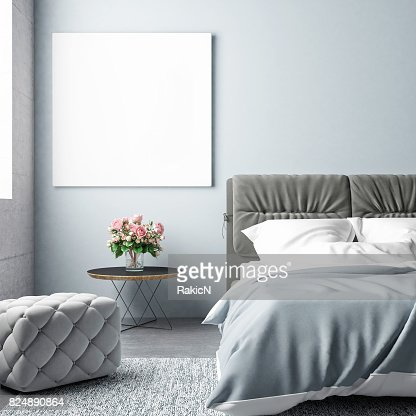Bedroom summer season with mock up poster : Stock Photo