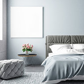 Bedroom summer season with mock up poster, 3d illustration