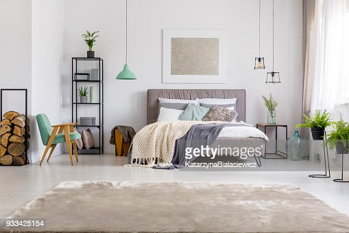 Bedroom with king-size bed : Stock Photo