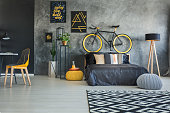 Functional bedroom interior with working area and bicycle