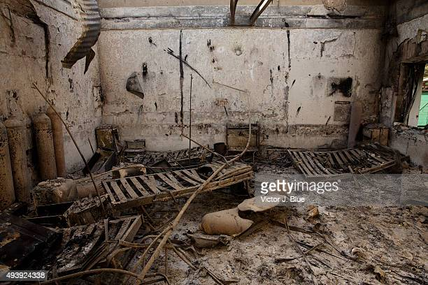 Beds and equipment sits incinerated in the former intensive care unit on October 14 in Kunduz Afghanistan in the aftermath of the US airstrike on the...