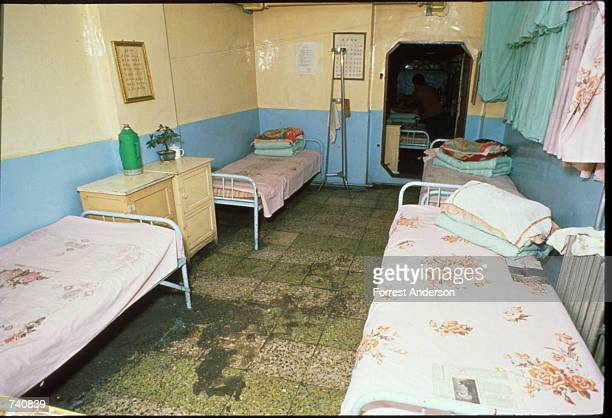 Beds fill the corners of an underground hotel room May 18 1988 in Beijing China Many air raid tunnels and underground rooms were opened for...