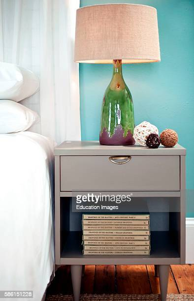 Bedside Table with Lamp Woods Hole Inn Woods Hole MA