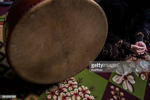 Bedug a tradition music tools made by goat skin played during the ceremonial as part of pray for the child Aqiqah tradtion held at a moeslim resident...