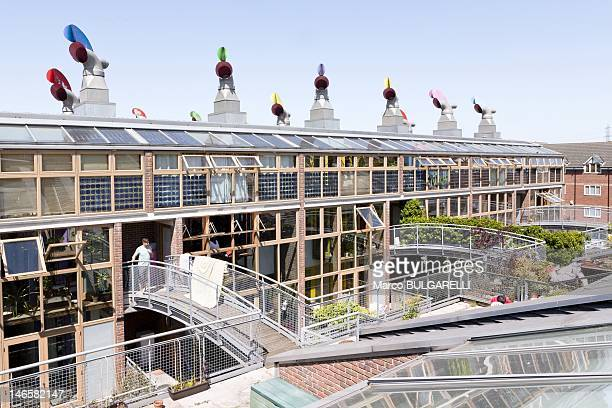 BedZED ecovillage Roof garden on May 26 2012 in London United Kingdom In BedZED the design incorporates a range of surprisingly lowtech features to...