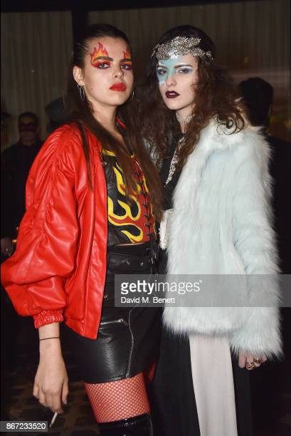 Bee Beardsworth and Daisy Maybe attend Dali's Dream Halloween party hosted by Velocity Black and The Mandrake Hotel on October 27 2017 in London...