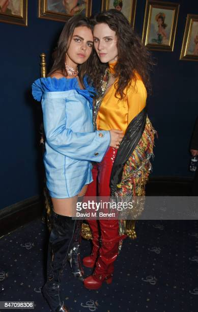 Bee Beardsworth and Daisy Maybe attend the iD x Jeremy Scott party presented by UGG at Cafe de Paris on September 14 2017 in London England
