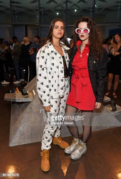 Bee Beardsworth and Daisy Maybe attend the launch of the Timberland Flyroam sneaker at The Scoop on September 22 2017 in London England