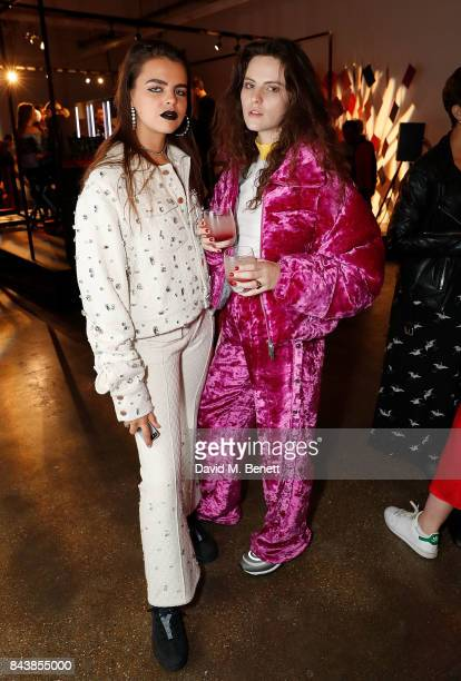 Bee Beardsworth and Daisy Maybe attends the launch of the Refinery29 and NARs cosmetics 'Power Mouth' exhibition at Protein Studios on September 7...