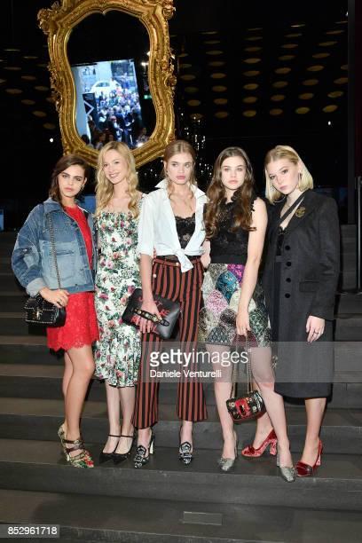 Bee Beardsworth Georgina Bevan Ella Hope Merryweather guest and Olivia Banks attend the Dolce Gabbana show during Milan Fashion Week Spring/Summer...