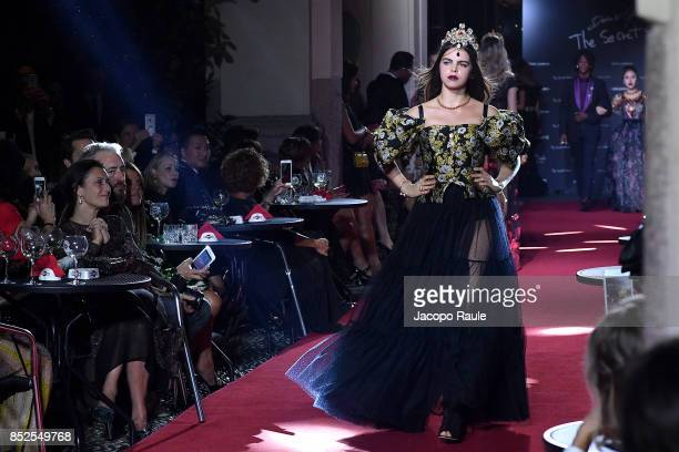 Bee Beardsworth walks the runway at the Dolce Gabbana secret show during Milan Fashion Week Spring/Summer 2018 at Bar Martini on September 23 2017 in...