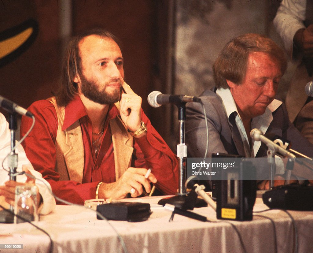 Bee Gees 1978 Maurice Gibb & Robert Stigwood at Sgt Pepper Press Conference.