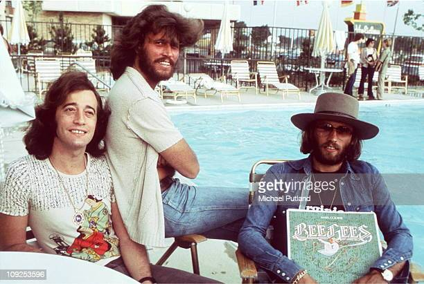 Bee Gees group portrait USA LR Robin Gibb Barry Gibb Maurice Gibb