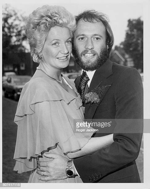 'Bee Gees' musician Maurice Gibb marrying Yvonne Spenceley at Haywards Heath Registry Office Sussex October 17th 1975