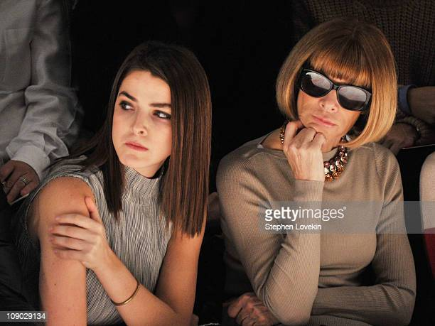 Bee Schaffer and Vogue EditorinChief Anna Wintour attend the Prabal Gurung Fall 2011 fashion show during MercedesBenz Fashion Week at The Studio at...