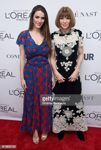 Bee Shaffer and Anna Wintour attend Glamour's 2017 Women of The Year Awards at Kings Theatre on November 13 2017 in Brooklyn New York