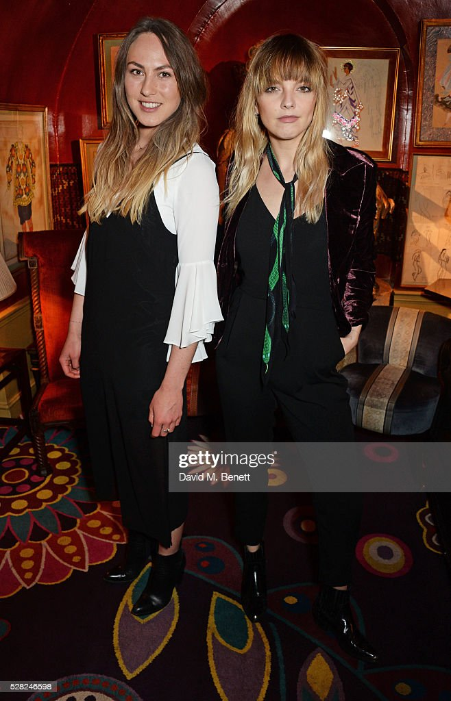 Bee van Stigt (L) and Laura Hayden attend an intimate performance by All Saints at Annabel's on May 4, 2016 in London, England.