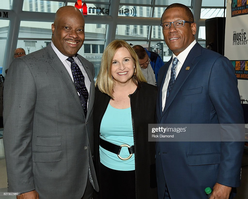 H. Beecher Hicks III NMAAM President/CEO, Nashville Mayor Megan Barry and Kevin P. Lavender NMAAM board/Fifth Third Bank attend NMAAM National Chairs And Fundraising Progress Press Confrence at Nashville Vistor Center on May 2, 2016 in Nashville, Tennessee.