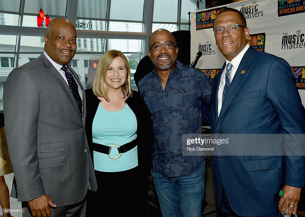 H. Beecher Hicks III, NMAAM President/CEO, Nashville Mayor Megan Barry, Singer/Songwriter/NMAAM National Chairperson Darius Rucker and Kevin P. Lavender NMAAM Board/Fifth Third Bank attend NMAAM National Chairs And Fundraising Progress Press Confrence at Nashville Vistor Center on May 2, 2016 in Nashville, Tennessee.