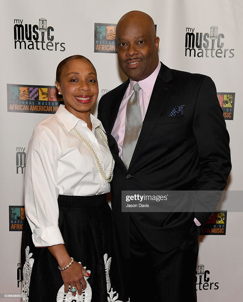 H. Beecher Hicks III ?President & CEO at National Museum of African American Music and Crystal Hicks attend NMAAM's Celebration Of Legends Red Carpet And Luncheon on May 6, 2016 in Nashville, Tennessee.